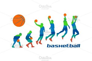 Set poses basketball players