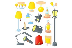 Lighting icons set, cartoon style