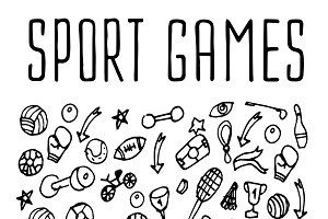 Sport games hand drawn icons
