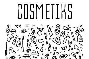 Cosmetics hand drawn icons
