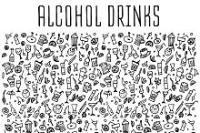 Cocktails & drinks hand drawn icons