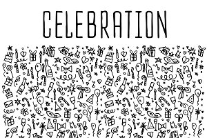 Celebration hand drawn icons