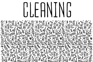Cleaning tools hand drawn icons