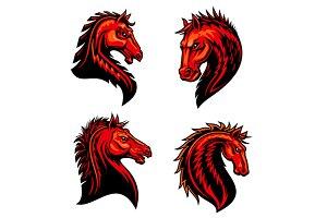 Fire mustang horse mascots
