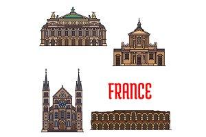 Landmarks icons of France