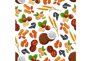 Seamless nuts and cereal pattern