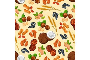 Nuts and seeds seamless pattern