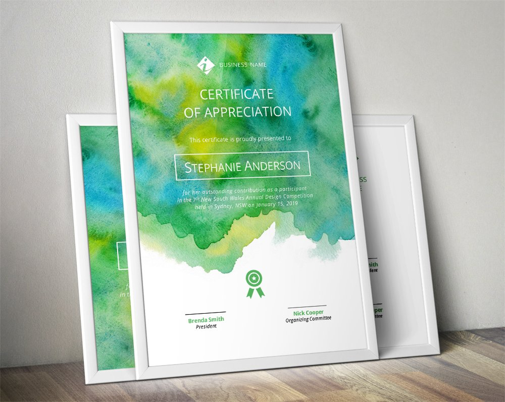 50 certificate templates to design stunning awards creative market watercolour certificate template the watercolour certificate template is maxwellsz
