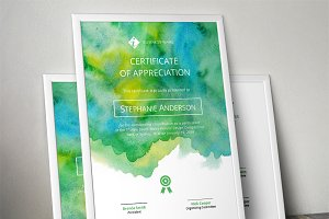 Watercolour certificate template