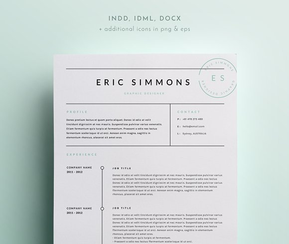 Basic Resume Templates 15 Examples To Download Use Now: INDD + DOCX ~ Resume Templates On Creative Market