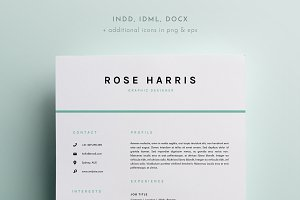 3 page resume template indd docx resume templates creative market - Indesign Template Resume