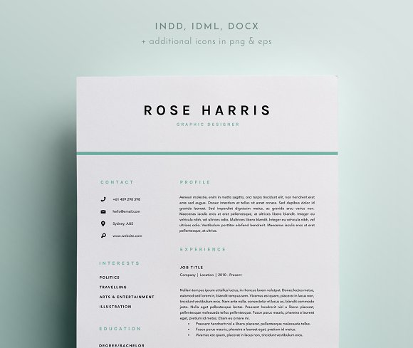 3 Page Resume Template | INDD + DOCX ~ Resume Templates ~ Creative ...