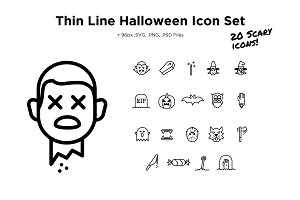 Thin Line Scary Halloween Icon Set