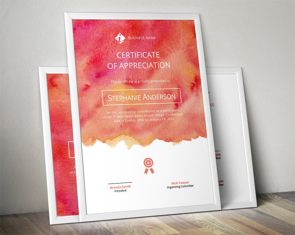 Watercolour corporate certificate ~ Stationery Templates ...