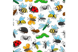 Funny insects seamless pattern