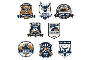 Hunting sports club icons set