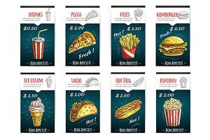Fast food menu posters