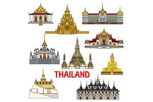 Colorful landmarks of Thailand