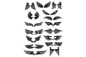 Black heraldic angel wings
