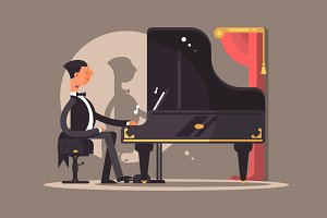 Pianist performs at concert
