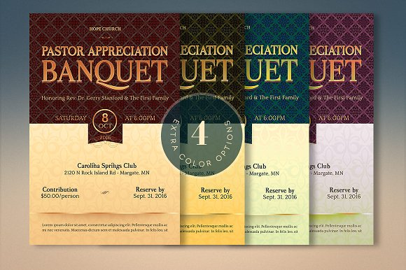 Pastor Appreciation Template Kit Invitation Templates on – Banquet Ticket Template