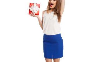 model holding her present