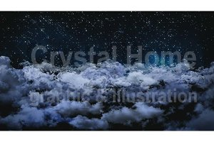 3D animation cloudy night sky fallin