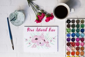 Watercolor, Coffee, & Flowers Mockup