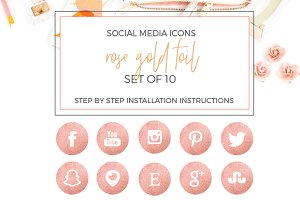 Rose Gold Foil Social Icons