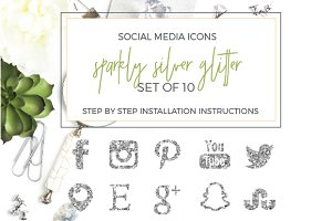 SALE! Silver Glitter Social Icons