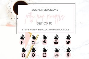 Pink Pineapple Social Icons