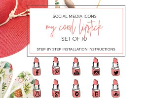 Pink Lipstick Social Icons