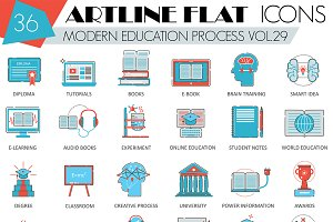 Modern online education icons