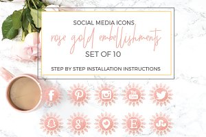Rose Gold Embelishments Social Icons