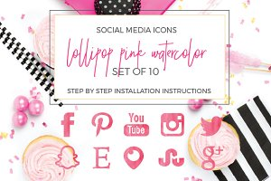 Lollipop Pink Watercolor Social Icon