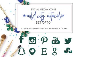 Emerald Watercolor Social Icons