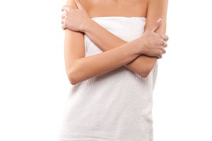 woman with clean white towel