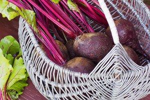 Basket of fresh harvested beetroots