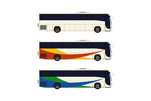 Set of three coach bus icons.
