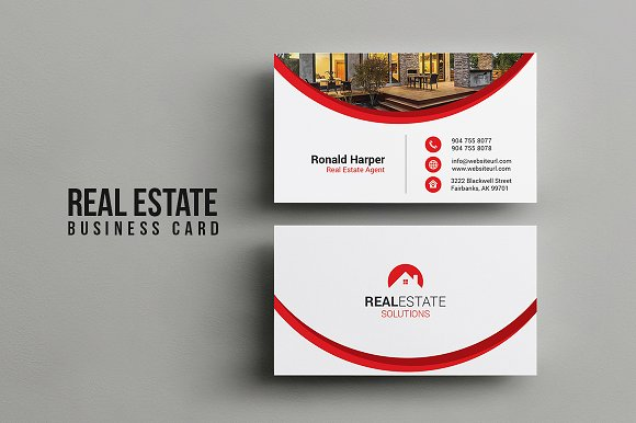 Real estate business card business card templates creative market fbccfo Choice Image