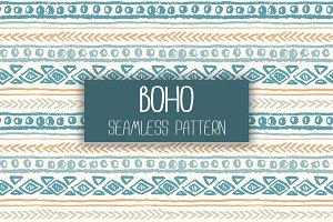 Boho seamless hand-drawn pattern