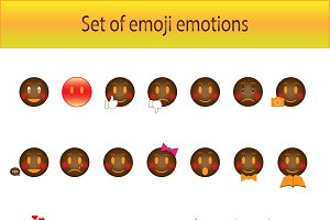 Emoji set vector black