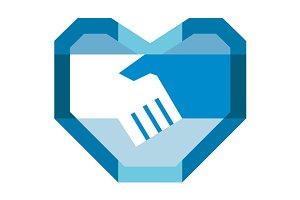 Handshake Forming Heart Shape Retro
