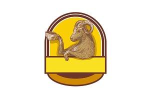 Ram Goat Drinking Coffee Crest