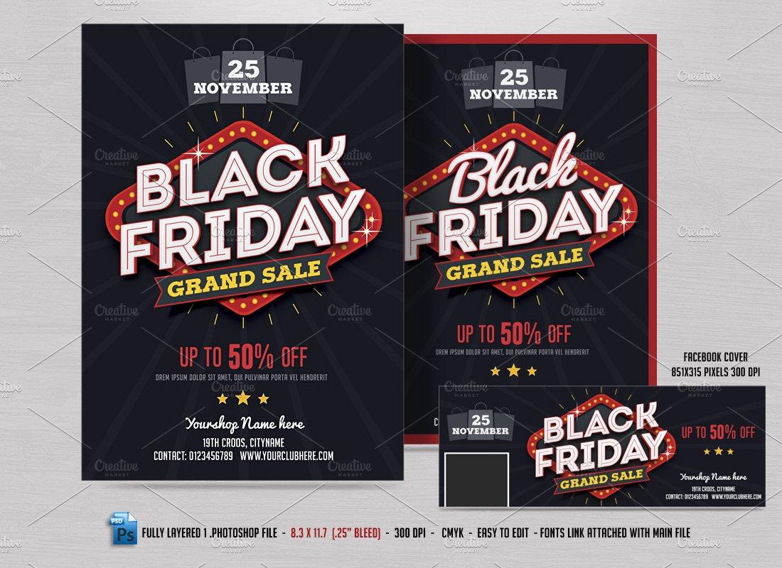 black friday sale flyer fb cover flyer templates creative market. Black Bedroom Furniture Sets. Home Design Ideas