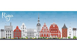 Riga Skyline with Landmarks