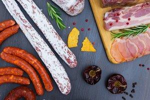 Picnic table with spanish sausage tapas