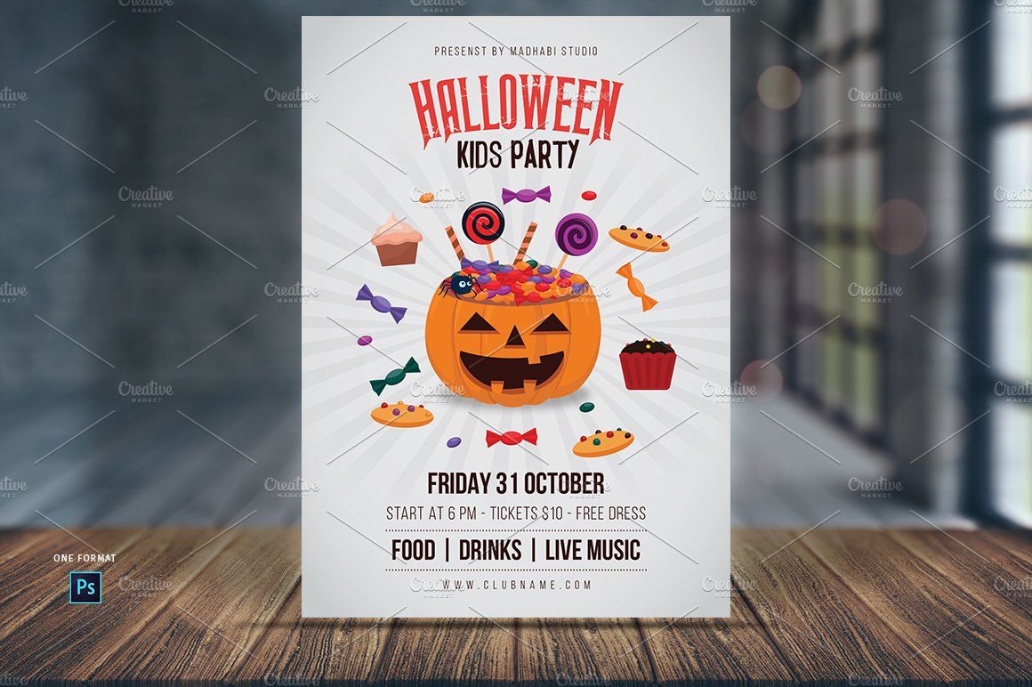 Halloween Kids Party Flyer Template Flyer Templates Creative Market