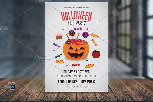 halloween kids party flyer template flyers