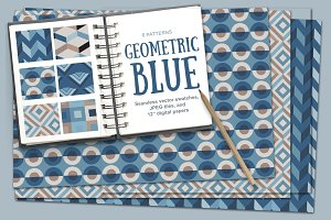 Geometric Blue Vector Patterns